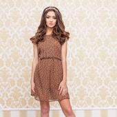 Короткое летнее коричневое платье