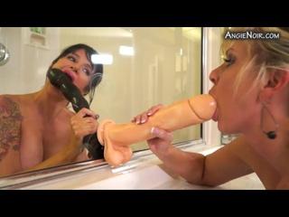 Angie Noir, Naughty Alysha - bath time dildos, Big Tits, Anal, Cowgirl, Gape, Tattoo, Lesbians, Glasses, Fisting, Milf, RolePlay