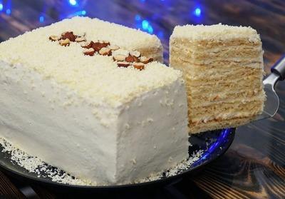 Торт «Молочная девочка» с молочно-сливочным кремом за 30 минут