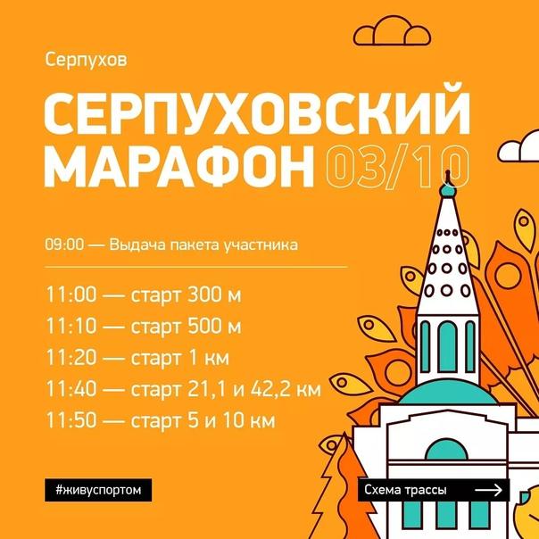 Тайминг, расположение стартового городка, схемы трасс и транзитная зона на «Серпуховском марафоне»